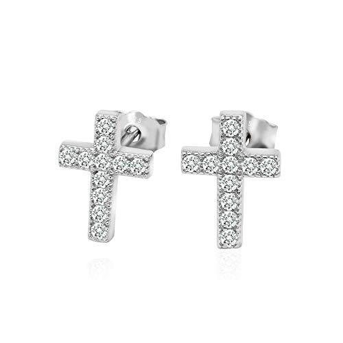 (925 Sterling Silver Cubic Zirconia Classic Mini Cross Stud Earrings)
