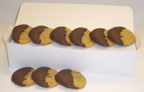 Scott's Cakes Half-Dipped Peanut Butter Cookies with Milk Chocolate in a White Gourmet Box Dipped Peanut Butter Cookies