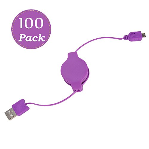 Retractable Micro-USB High-Speed Charge and Sync Performance Superior Cord 3.2' Type (A to B) 100-Pack(Purple) by Vangoddy