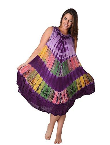 Ingear paraguas de maternidad del batik caftán. Tanque Vestido Cover Up bordado pintado Púrpura