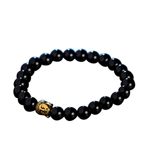 Willsa 8mm Mens & Womens Alloy Obsidian Stone Beads Gemstone Bracelet Link Wrist, Buddha Mala Bead (Black (H And M Fancy Dress)