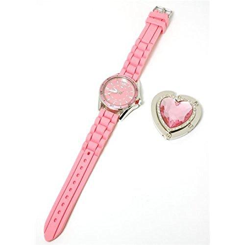 Paris Hilton Pink Strap Ladies Fashion Watch and Heart Handbag Holder HWX002B