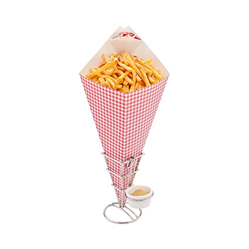 Amazon.com: Conetek 15.5-Inch Eco-Friendly Finger Food Cones with Built-in Condiment Dipping Pocket: Perfect for Appetizers – Food-Safe Paper Cone with ...