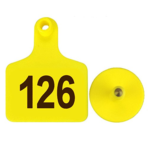 100pcs TPU Laser Curve Cattle Ear Tag Tagger Copper Head yellow with (Copper Curve)