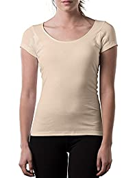 Thompson Tee Sweat Proof Undershirts for Women, with Anti-Microbial Underarm Sweat Pads, Original Fit, Scoop