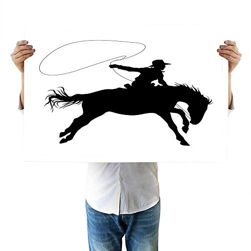 (Cartoon Drawing Silhouette of Cowboy Riding Horse Rider Rope Sport Country Western Style Art Accessories 16