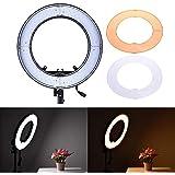 Iluminador Ring Light RL-12 para fotos e vídeos com 35cm de diâmetro, Greika, RL-12, Preto