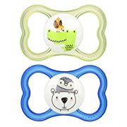 MAM Sensitive Skin Pacifiers, Baby Pacifier 6+ Months, Best Pacifier for Breastfed Babies, Air' Design Collection, Boy, 2-Count