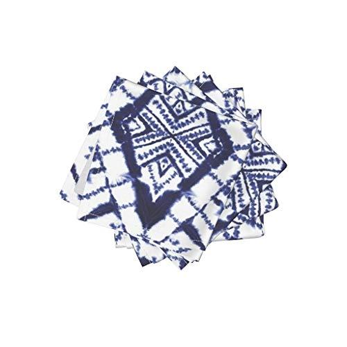 - Roostery Blue White Tie Dye Linen Cotton Cloth Cocktail Napkins Tie Dye Tie Dye Dye Shibori Watercolor Mirror by Mjmstudio Set of 4: 10 x 10in
