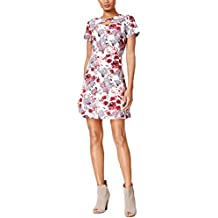 kensie Womens A-Line Floral Print Casual Dress