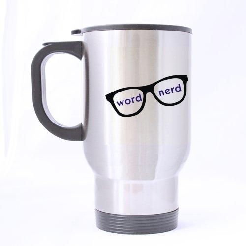 Fashion-Design-Word-Nerd-Stainless-Steel-Travel-Mug-Silver-14-ounces