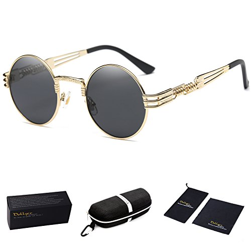 Dollger John Lennon Round Sunglasses Black Steampunk Glasses Gold Metal Frame Mirror Lens - For Men Round Sunglasses
