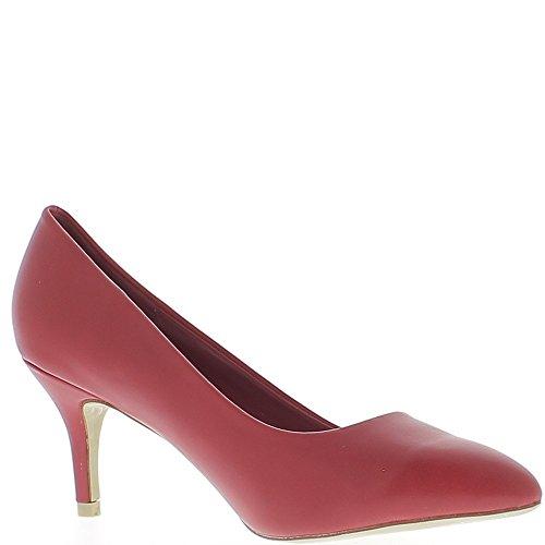 Escarpins classiques pointus rouges à talons fins de 7 cm aspect cuir