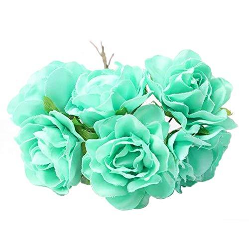 30 Pieces 1.5inch Diameter Mint Green Artificial Silk Rose Bud Rose Flower Heads with Wired Stems Wedding Garland Wreath Flower Bridal Headpieces Scrapbooking DIY Craft Wedding Gifts Embellishment ()