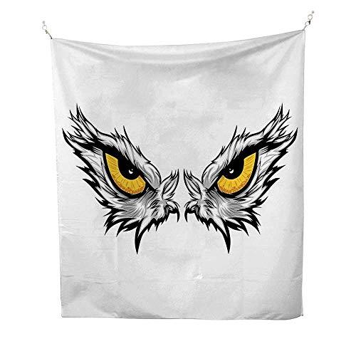 Eyefunny tapestryAggressive Gaze of a Bird of Prey Cartoon Mascot Hunter Falcon Eagle Hawk 60W x 80L inch Quote tapestryPale Grey Marigold Black