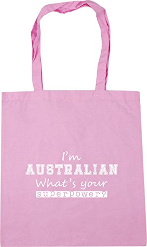 HippoWarehouse Beach Superpower litres Shopping Australian Your I'm Gym Tote Bag 10 Pink 42cm Classic x38cm What's rSwAqrCx8
