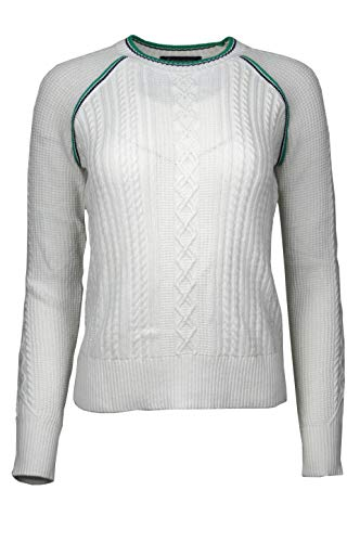 Brooks Brothers Womens Cableknit Raglan Sleeve Crewneck Sweater White Green (Small)