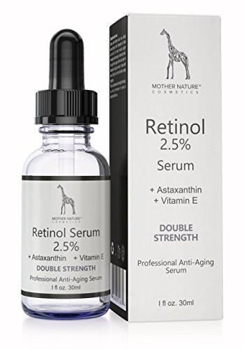 Mother Nature - Retinol Serum || Anti-Aging Hochdosiert mit 2,5 % Retinol für Gesicht & Haut || Inkl. Hyaluronsäure und Vitamin E || Gegen Falten, Akne, Augenringe, Hyperpigmentation || 30ml