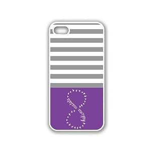 Hakunamatata Purple & Grey Stripes White iPhone 5 Case - For iPhone 5/5G - Designer PC Case wangjiang maoyi