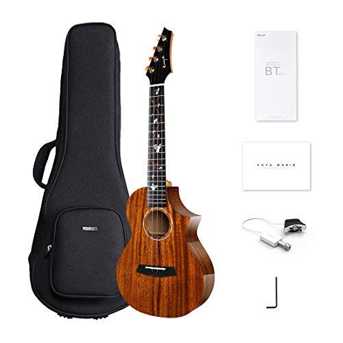 Enya EUT-M6 EQ Cutaway Acoustic Electric Tenor Ukulele 26 Inch All Solid Mahogany with DAddario Strings Beautiful Inlay and Gloss Finish