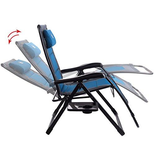 Timber Ridge Oversize XL Padded Zero Gravity Chair - Blue/Grey