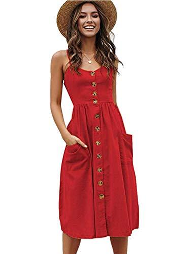 Women's V-Neck Spaghetti Strap Button Up Flowy Swing Summer Graduation Dress Red XL
