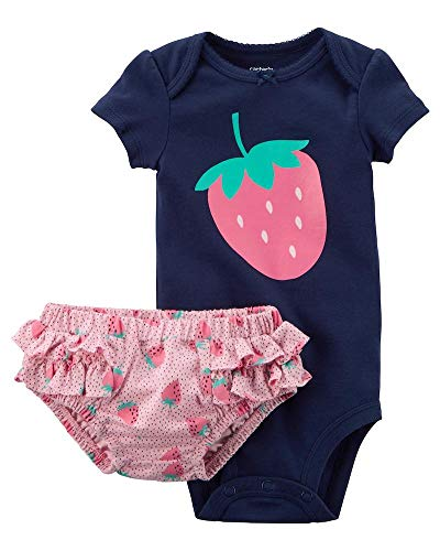 Carter's Baby Girls 2 pc Cotton Bodysuit Diaper Cover Set w/Ruffle Strawberry (6M) Navy
