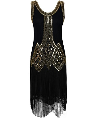917f6a7c6e5bed kayamiya Women's Inspired 20s Sequined Beaded Art Deco Gatsby Flapper Dress  M Gold