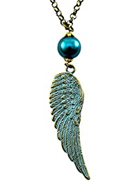 Verdigris Wing - Blue and Gold Charm Necklace - Teal Glass Pearl