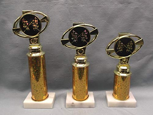 (Racing Trophy Set of 3 Gold Columns White Marble Base Checkered Flag Award)