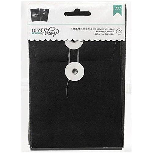 American Crafts 12-Piece DIY Shop Chalkboard Security Envelope 4.25 by 5.75-Inch