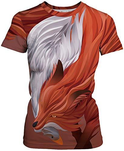 77db16a61 Flychen Zorro Novedad Dibujos Animales Women s Impreso De Casual shirt 3d  Mujeres Moda Geométricos Tees 007 Camiseta Para Graphic Anaranjado T ...
