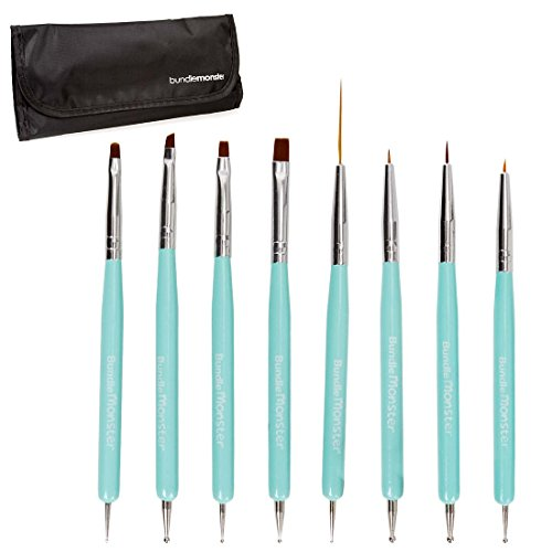 Maniology (formerly bmc) Super Cute Turquoise 8pc Dual Sided Nail Art Brush and Dotting Tool Set (And Nail Brushes Tools Dotting)
