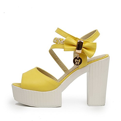 AgooLar Mujeres con Lazos Velcro Peep Tacón ancho Colores Surtidos Sandalia Amarillo
