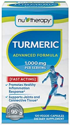 Nu-Therapy Turmeric Advanced Formula Dietary Supplement | Fast Acting | 120 Veggie Capsules | 1, 000mgper Serving, 60 Servings