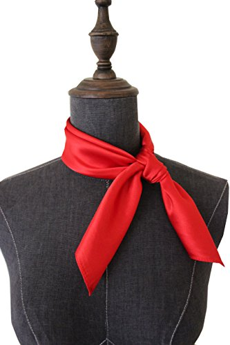 (Silk square scarf pure color head scarf blend neckerchief (Red))