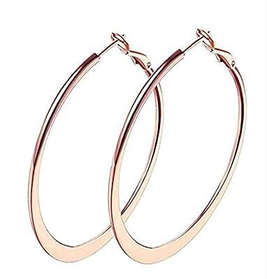 Jstyle Flattened Hoop Earrings Stainless Steel 18K Rose Gold Plated Loop Pierced Earrings