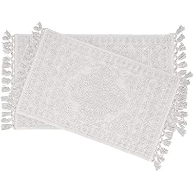 """French Connection 2 Piece Bath Rug Set, 17""""x24""""/20""""x34"""", White - 100% Cotton French Connection brings effortlessly cool style and edgy individuality to your home décor Nellore features thick 100% cotton specially woven to resemble beading and finished with chic tassel fringe - bathroom-linens, bathroom, bath-mats - 41HO0kmcp%2BL. SS400  -"""
