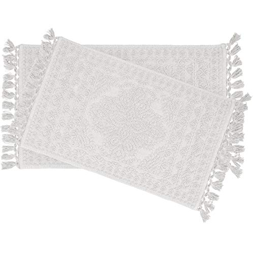 French Connection Nellore Fringe Bath Rug, 17 in. x 24 in./20 in. x 34 in. in, White