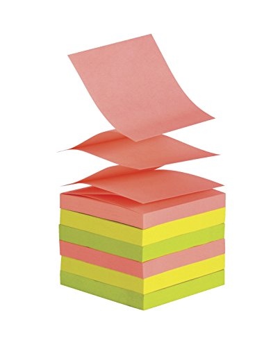 School Smart Pop Up Self Stick Notes - 3 x 3 inches - 12 Pads of 100 Sheets - Assorted Neon Colors