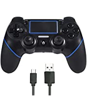 Sefitopher Wireless PS4 Controller Bluetooth Wireless Gamepad Compatible for Playstation 4/Pro/Slim/PC Laptop with Audio Function, Colored LED Indicator, Double Vibration and Anti-Slip