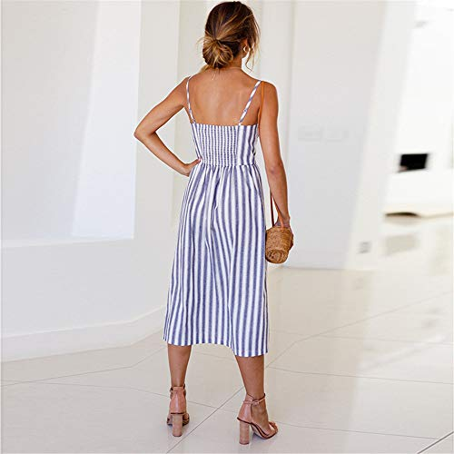 LitBud Women's Dress Summer Casual Vintage Beach Party Holiday Pockets Button Down Vacation Midi A-Line Dresses for Ladies Blue Strips Size 10 12 XL