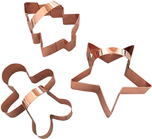 Basket Cookie Cutter - Copper Cookie Cutter Set, BONUS Handles, Fun Baking In Your Home Kitchen, Modern Tools Add Vintage Charm, Set of Gingerbread Man, Star & Tree, Beautifully Gift-Boxed