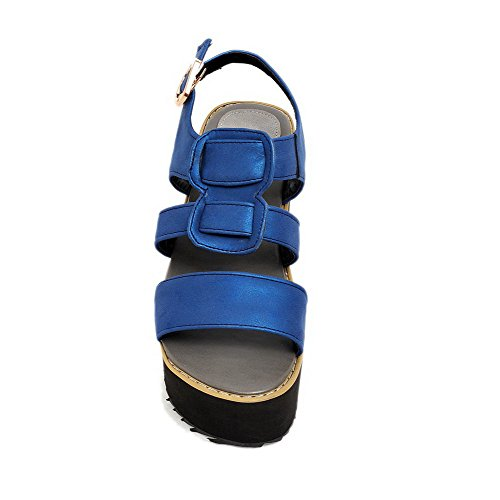 Blue High Buckle Toe Open Heels Sandals Solid AmoonyFashion Womens Pu q1Fggw