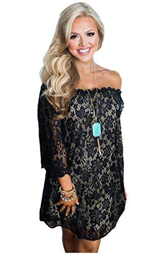 ivory and black lace wedding dress - 5