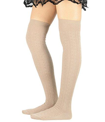 - American Trends Women Over The Knee Knitting Socks Sporty Thigh High Kawaii Long Tube Sailor Cosplay Stockings Khaki