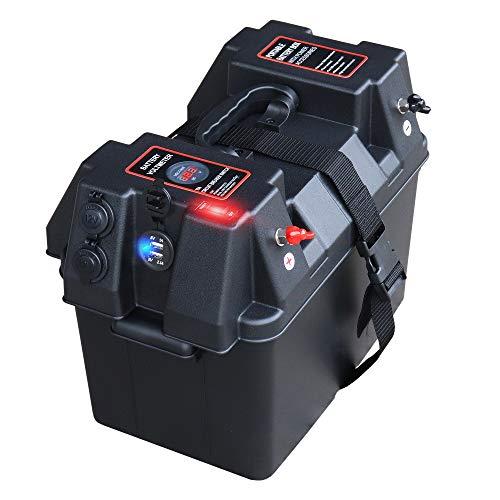 IZTOSS Marine Trolling Motor Power Center Station Battery Box with Voltmeter,USB and 12V Charger Port (Battery Box Meter)