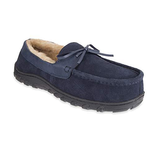 Chaps Men's Slipper House Shoe Moccasin Memory Foam Micro Suede Indoor Outdoor Nonslip Sole, Navy, M (8-9) Regular US