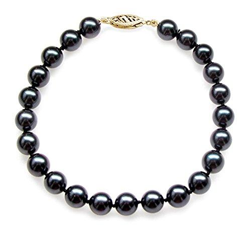 14K Or jaune noir japonais Akoya Bracelet Perle de culture de qualité AA + (7-7,5mm)