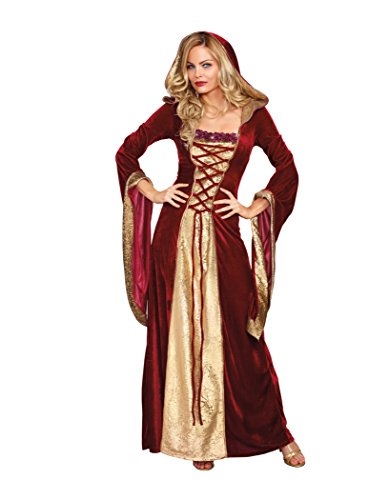 Dreamgirl Women's Lady Of Thrones Costume, Red/Gold, Large